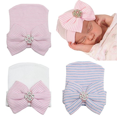 DRESHOW BQUBO 3 Pack BQUBO Newborn Hospital Hat Infant Baby Hat Cap Big Bow Nursery Beanie]()