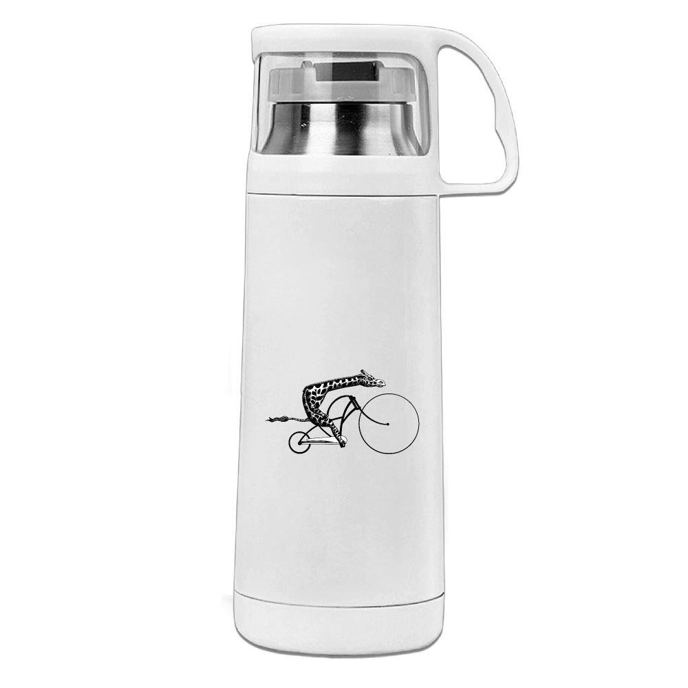 カレンGarden Giraffe on a bikeステンレススチール真空断熱ウォーターボトルリークプルーフHandledマグホワイト、12oz B077YZZWMG