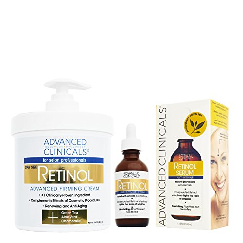 Advanced Clinicals 2 piece retinol skin care set. 16oz Spa Size Retinol Firming Cream and 1.75oz Retinol Serum for wrinkles, fine lines, age spots.