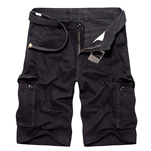 mens multi-pocket 1 2 Cargo shorts(whitout belt)-Black-30 (Boys Black Belted Jean Shorts)