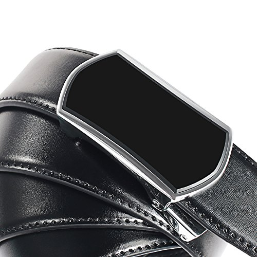【New 2018 Version】Golf Belts for Men Black Leather with Removable Click Buckle Automatic Ratchet Belt Adjustable Dress Belt 1 3/8'' by WAYMO (Image #4)