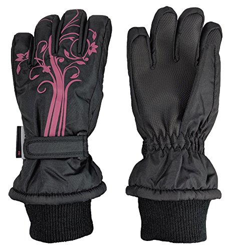 NIce Caps Girls Thinsulate and Waterproof Winter Gloves with Flower Tattoo Print