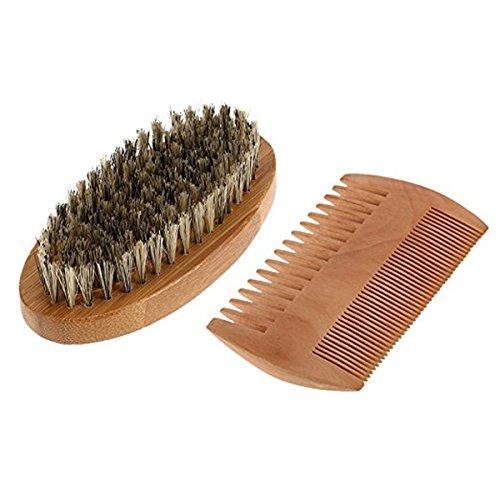 ROSENICE Beard Brush Wooden beard Comb Mustache Comb Bristle Brush and Set for Men