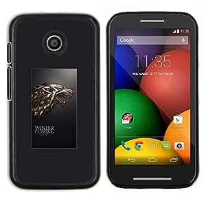 Caucho caso de Shell duro de la cubierta de accesorios de protección BY RAYDREAMMM - Motorola Moto E - Winter is Coming Lobo Stark