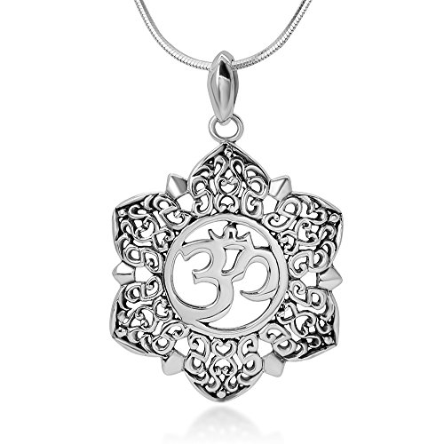 Chuvora Sterling Silver Open Filigree Lotus Flower Om Ohm Aum Symbol Pendant Necklace for Women, 18