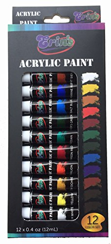 Acrylic Paint Set 12 Color Tubes Uses Include Metal, Canvas, Clay, Ceramic, Fabric,Wood and Craft. Non-Toxic, for Professional Artist, Beginners and Students, Quality Brush Paints
