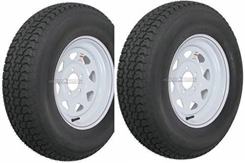 Hole White Spoke - eCustomRim 2-Pack Trailer Wheel & Tire #420 ST205/75D15 205/75 D 15