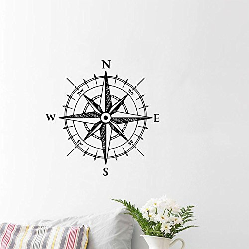 Complete Decor Compass Room - Compass rose wall decal with a hand drawn vintage look   Nautical sticker decor for bedrooms, rooms, offices, classrooms, living rooms