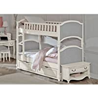 Hillsdale Kids and Teens 20031NT Kensington NE Kids Victoria Upholstered Panel Bunk Bed with Trundle, Twin Over Twin, Antique White