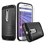 Droid Maxx 2 Case, 2-Piece Style Hybrid Shockproof Hard Case Cover + Circle(TM) Stylus Touch Screen Pen And Screen Protector (Black)
