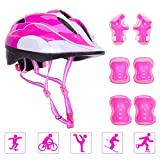 Toys : Adjustable Helmet Cycling Roller Skateboard Elbow Knee Pads Wrist Safety Protective Guard Gear Set for Children Aged 5-12 Years Old (Pink)