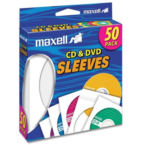 190135 Maxell CD-400 CD/DVD Sleeves (50-Pack) - Sleeve - Slide Insert - (Maxell Cd / Dvd Sleeves)