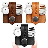 TOPHOME Cord Organizer Holder Headset Headphone Earphone Wrap Winder/ Cord Manager Cable Winder/ USB Cords/ Charging Cables/ Cord Management Keeper with Leather Handmade BK&BN&OR pack of 3