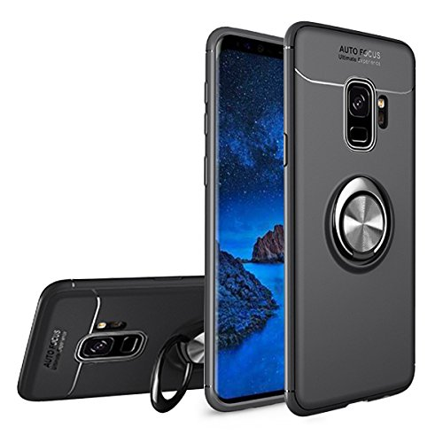 Newseego Compatible Samsung Galaxy S9 Case,360° Adjustable Ring Stand,Frosting Thin Soft Protective and Finger Ring Holder Kickstand Fit Magnetic Car Mount for Samsung S9-Black+Silver