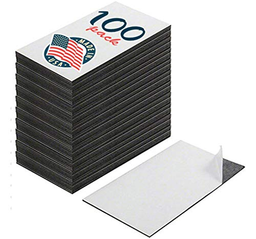 Custom Peel - Self Adhesive Business Card Magnets, Peel and Stick, Great Promotional Product, Value Pack of 100