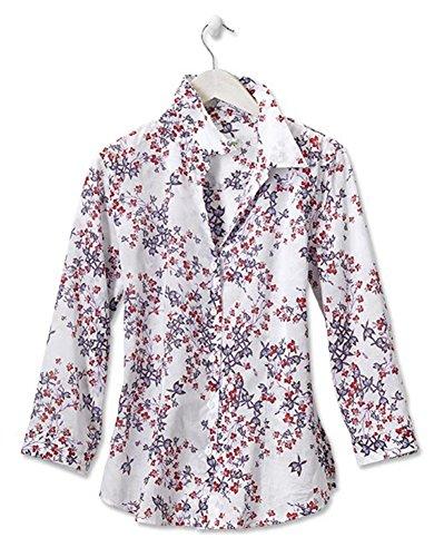 Orvis Women's Blue Columbine-print Three-quarter-sleeved Shirt, 16