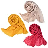 Wobe 3pcs Women Soft Cotton Hemp Scarf Shawl Long Scarves, Travel Sunscreen Pashmina Fancy Stylish Hijab Scarf Lightweight Warm Big Head Scarves Muslin Pure Color Red Yellow Brown
