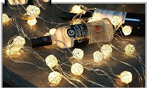 Warm White : Szvfun Rattan Ball String Lights 2.5M 20 LED Fairy Lights Battery White Handmade Thai Light Chain Party Wedding Christmas Decor by Generic
