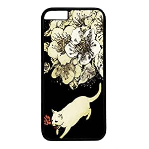 Hard Back Cover Case for iphone 6,Cool Fashion Black PC Shell Skin for iphone 6 with Dog with a Flower in its Mouth