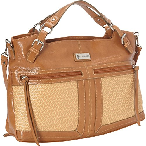 U.S. Polo Assn. Saratoga Woven Satchel Top Handle Bag 993acf19a644c