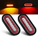 Tinpec 2PCS Oval LED Trailer Tail Lights with 23 LED Bulbs Waterproof Stop Brake Lights with Rubber Grommet Universal Backup Reverse Lights for Trailers Trucks RVs (Red and White)