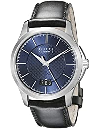 G-Timeless Stainless Steel Men's Watch with Black Leather Band(Model:YA126443)