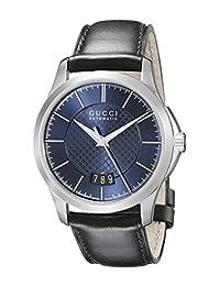 Gucci YA126443 Women's Timeless Wrist Watches, Blue Dial, Black Band