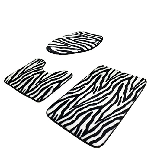 Bathroom Rugs Set, YIFAN 3Pcs Zebra-stripe Coral Velvet Fabric Pedestal Mat Toilet Set Cover Carpet (U Toilet Seat)