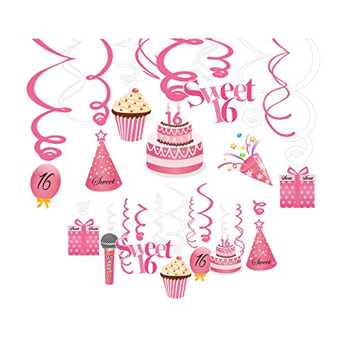 (Aaonwish 30Ct Sweet 16 Party Supplies Hanging Swirl Decorations -Ice Cream Cream Cherry Microphone Sweet Sixteen 16Th Birthday Hat 16Th Pink Balloon 16Th Birthday Cake 16Th Birthday Present for 16Th Car Surprise Birthday Party Supplies Themed Party)