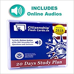 Us Citizenship Civics Flashcards 2018 Includes Online Audios For