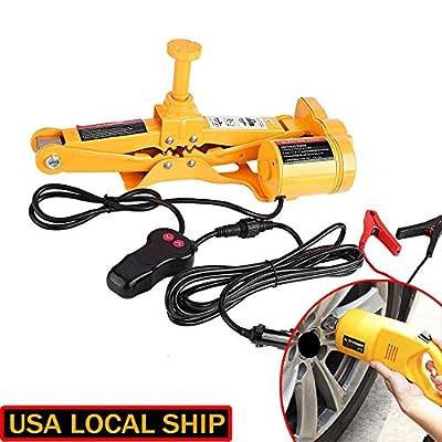 "Heavy Duty Electric Scissor Car Jack Lift 3 Ton 1/2"" Impact Wrench 12V DC Auto"