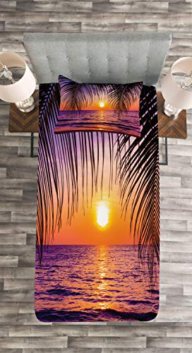 Lunarable Tropical Bedspread, Sunset Over The Ocean with Tropical Palm Trees Twilight Sundown Scenery, Decorative Quilted 2 Piece Coverlet Set with Pillow Sham, Twin Size, Orange Purple