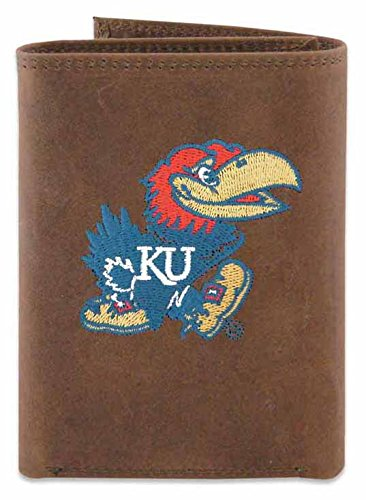 ZEP-PRO NCAA Kansas Jayhawks Men's Crazy Horse Leather Trifold Embroidered Wallet, Light Brown, One Size -