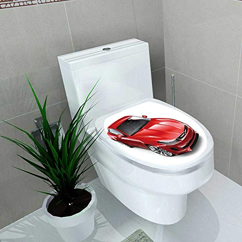 Toilet Sticker red Sporty Coupe car on White Home Decor Applique Papers W14 x L14