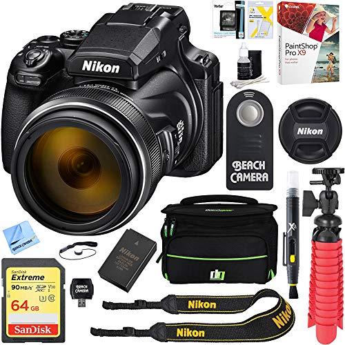 Nikon (26522 COOLPIX P1000 16MP 125x Super-Zoom Digital Camera + 64GB Memory & Accessory Bundle (3000x Zoom)
