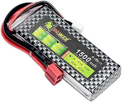 7.4V 2S 1500mAh 30C T plug LiPO Battery Burst 60C RC model Lipolymer power pack