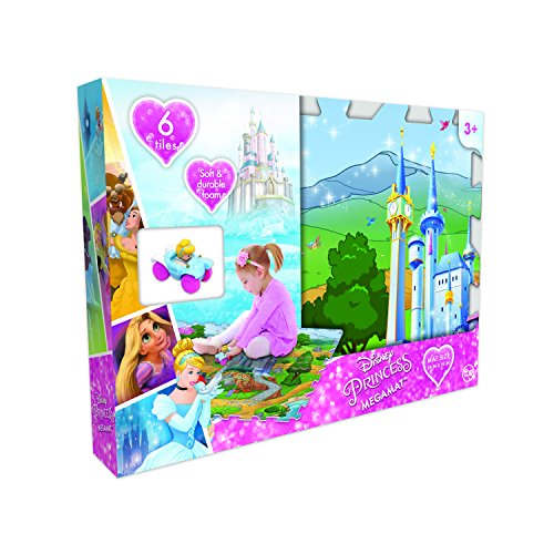 Disney CO-30747C Princess 6Pc Mega Floor Mat with Vehicle Playmat with Vehicle, Multicolor (Pack of 7) (Princess Mat Floor Puzzle)