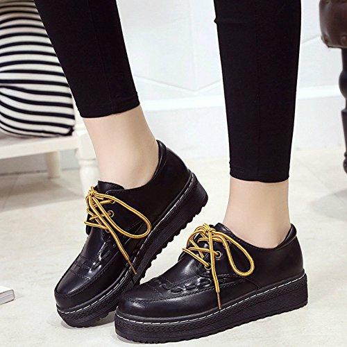 T-JULY Womens Classic Oxfords Shoes - Comfy Platform Lace-up Round Toe Wedges Shoes Black JlBMVNnE8J