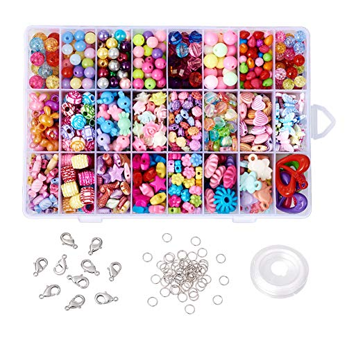 Beadthoven 1 Box Assorted Acrylic Beads for Girls Children DIY Colorful Beading Jewelry Sets Accessories Making Supplies Birthday Gifts Christmas Presents -