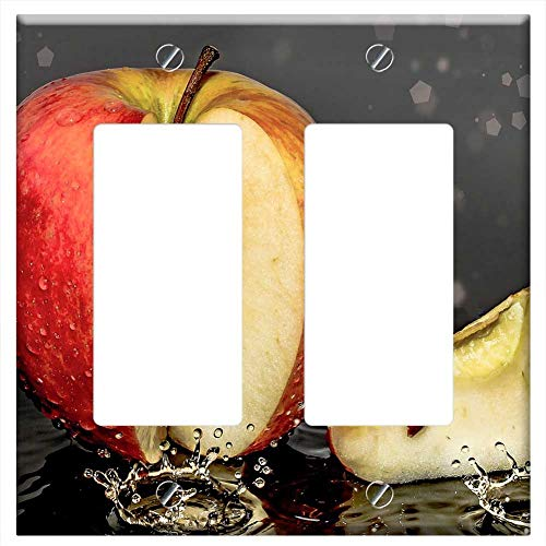 Switch Plate Double Rocker/GFCI - Apple Piece Of Apple Cut Drip Bio Vitamins
