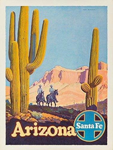 Santa Fe - Arizona Vintage Poster (artist: Perceval) USA c. 1950 (12x18 Art Print, Wall Decor Travel Poster)