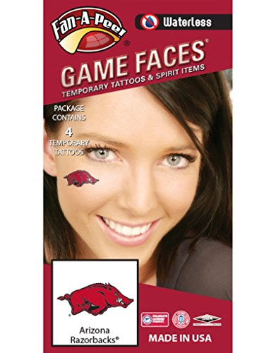 - Fan A peel University of Arkansas (UARK) Razorbacks – Waterless Peel & Stick Temporary Spirit Tattoos – 4-Piece – Red/Black/White Tusk Logo