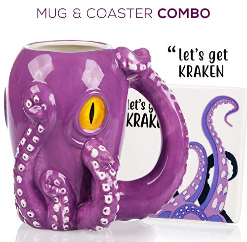 Hand Painted Ceramic Mug - Octopus Mug & Coaster Gift Set - Unique Hand Painted Novelty 3D Ceramic Coffee Mugs Gifts. Includes Cute Coaster With a Fun Lets Get Kraken Phrase. A Cool Cup for Coffee, Tea or Kitchen Bedroom Decor