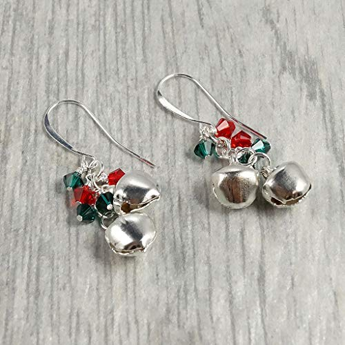 (Jingle Bell Swarovski Dangle Earrings Jewelry Gift for Her )