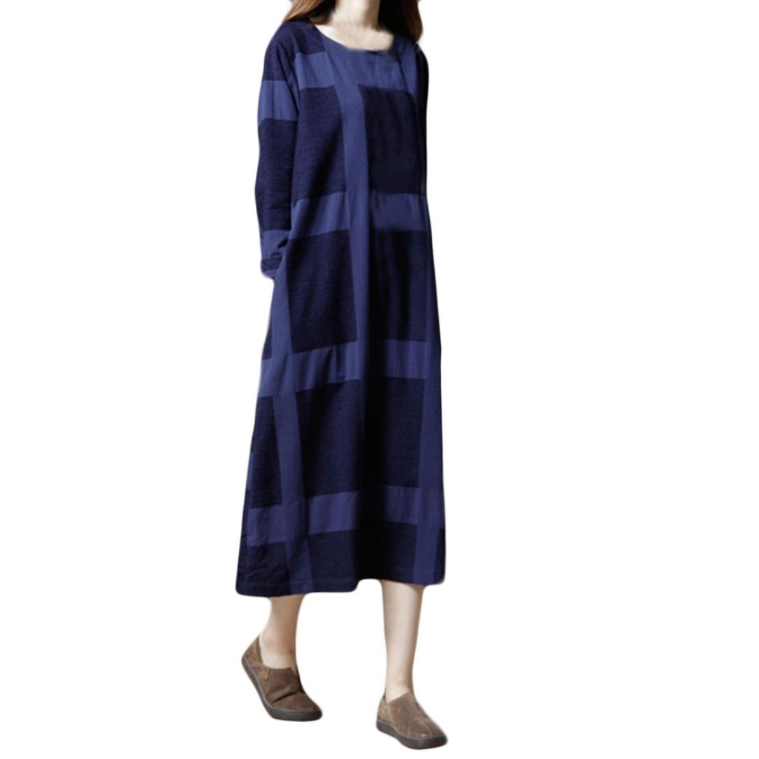 UOFOCO Plus Size Linen Dress for Women Printing Cotton and Long Sleeves Loose Long Dress