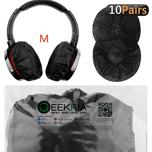 Stretchable Headphone Covers/Disposable Sanitary Earcup Earpad Covers Fits Medium/Large-Sized Headset 20 pcs (10 Pairs) Black
