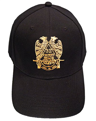 - Mason Zone - Masons Baseball Cap - Standard Scottish Rite Wings DOWN - Masonic Black Hat with 32nd degree Symbol - One Size Fits Most Cap for Freemasons (Black)