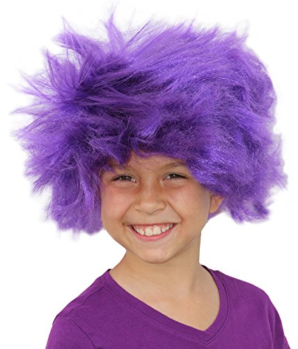 [Troll Wig Purple Minion Costume For Kids Or Adults Purple Minion Wig Afro Purple] (Adult Minions Costumes)