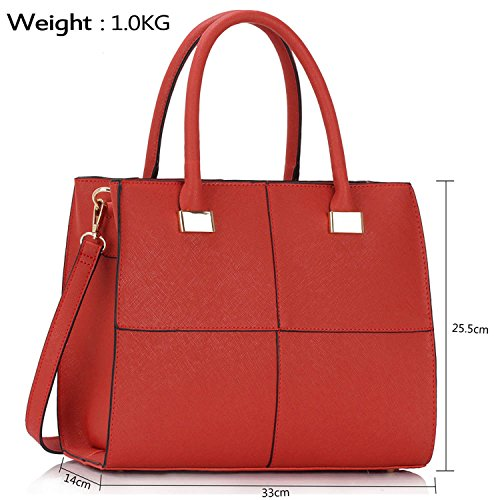 Xardi London design donne borse in pelle borse a tracolla da donna in stile college Girls Tote A4 Red
