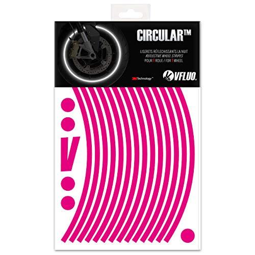VFLUO CIRCULAR, Motorcycle retro reflective wheel stripes kit (1 wheel), 3M Technology, 7 mm width, Pink (Pink Reflective Tape)